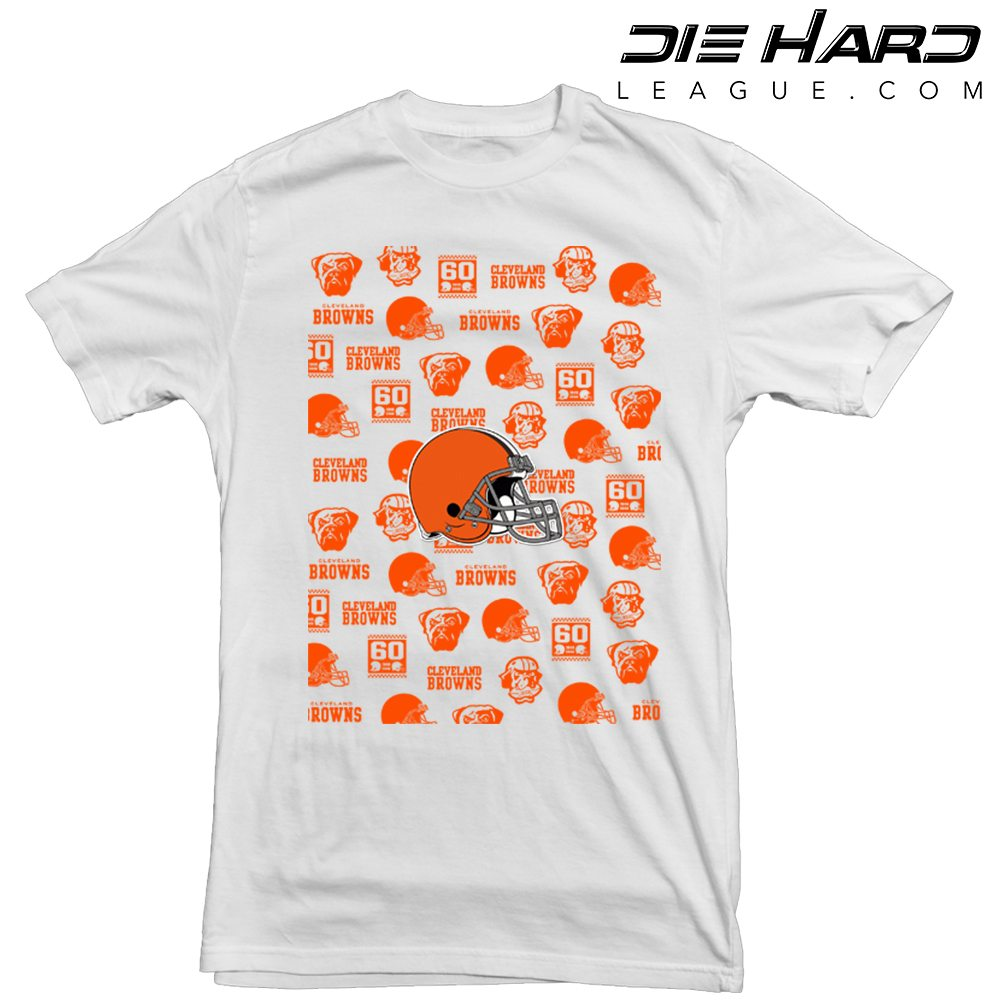 detailed look 961b9 fd3c4 Cleveland Browns T Shirt Logos White Tee