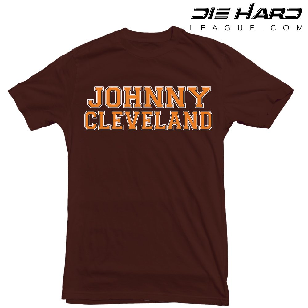 Cleveland browns t shirt johnny cleveland brown tee for Cleveland t shirt printing