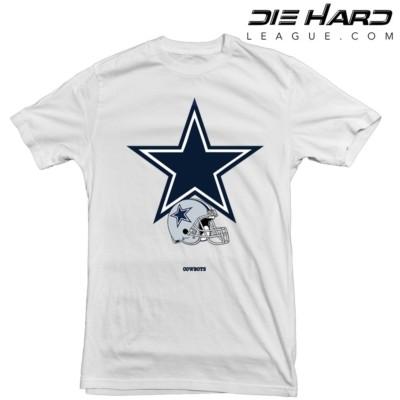 492d78409 Dallas Cowboys T Shirt Logo Helmet White Tee