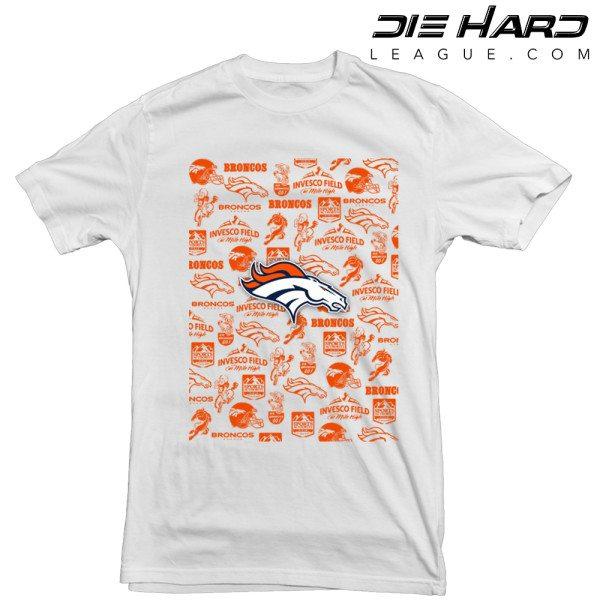 Denver Broncos T Shirt Logos Pocket White Tee