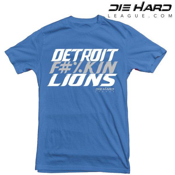 Detroit Lions T Shirt - Detroit Fn Lions Blue Tee