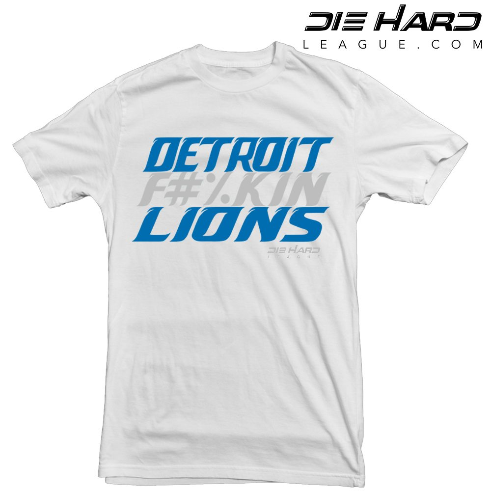 Hot Detroit Lions Shirt Detroit Fn Lions White Tee  free shipping