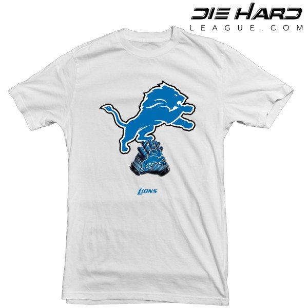 Detroit Lions T Shirt Logo Gloves White Tee