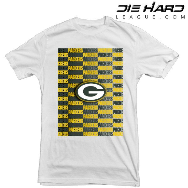 Green Bay Packers T Shirt Cascade Logos White Tee