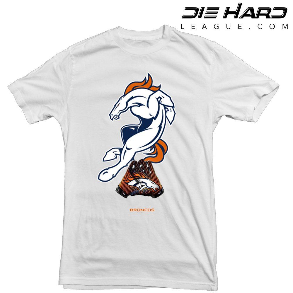 d503266c80d Shop. Home/Denver Broncos Shop/Broncos Shirts/Denver Broncos T Shirt Logo  Gloves White Tee