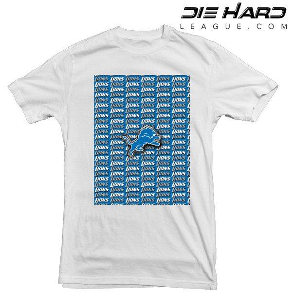 Detroit Lions T Shirt Cascade Lions White Tee