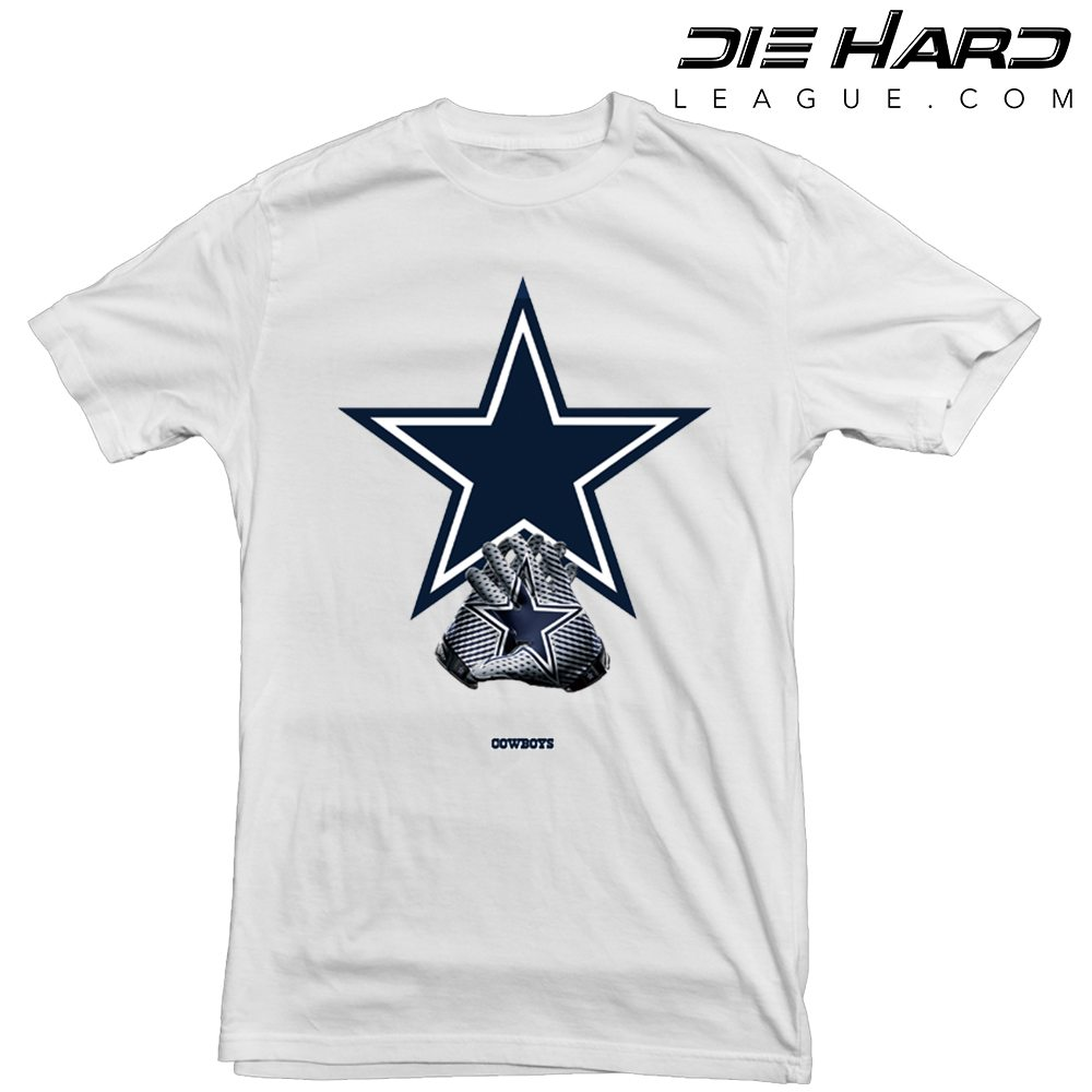 Dallas Cowboys T Shirt Logo Gloves White Tee e7e88d960