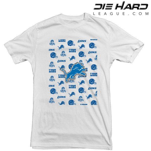 Detroit Lions T Shirt Logos White Tee