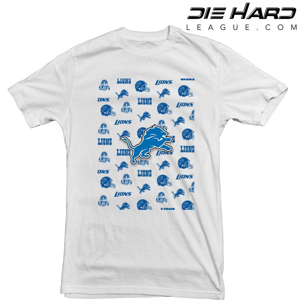 big sale f7396 3e670 Detroit Lions T Shirt Logos White Tee