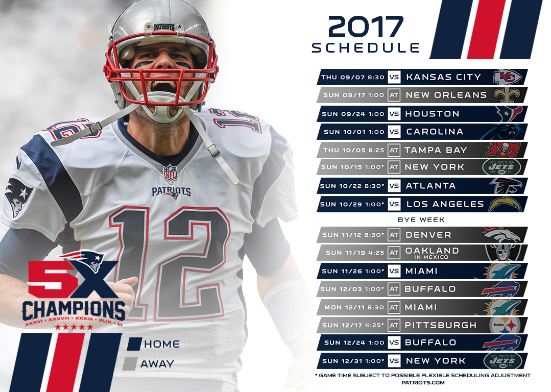 c1be467ab New England Patriots 2017 Schedule