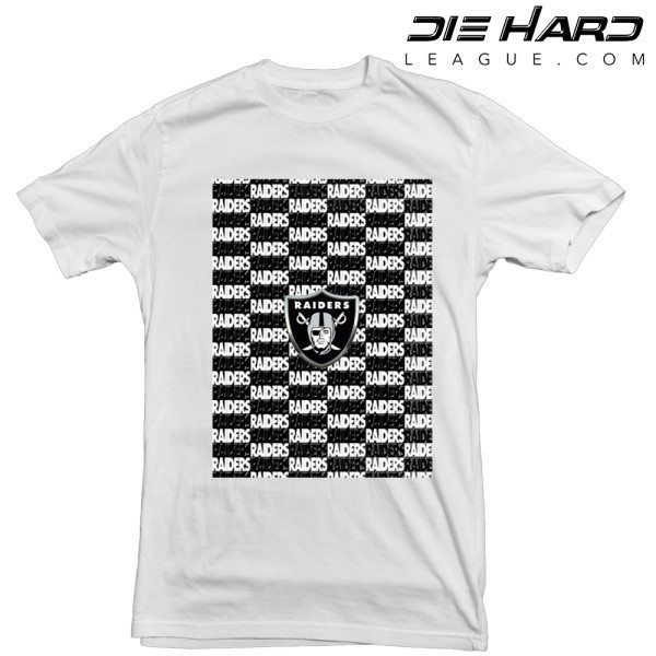 Oakland Raiders T Shirt Cascade Logos White Tee