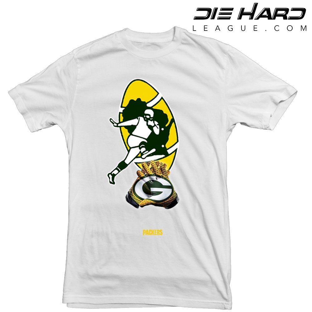 online store 4c16f 35b46 Green Bay Packers t shirt Logo Gloves White tee | NFL ...
