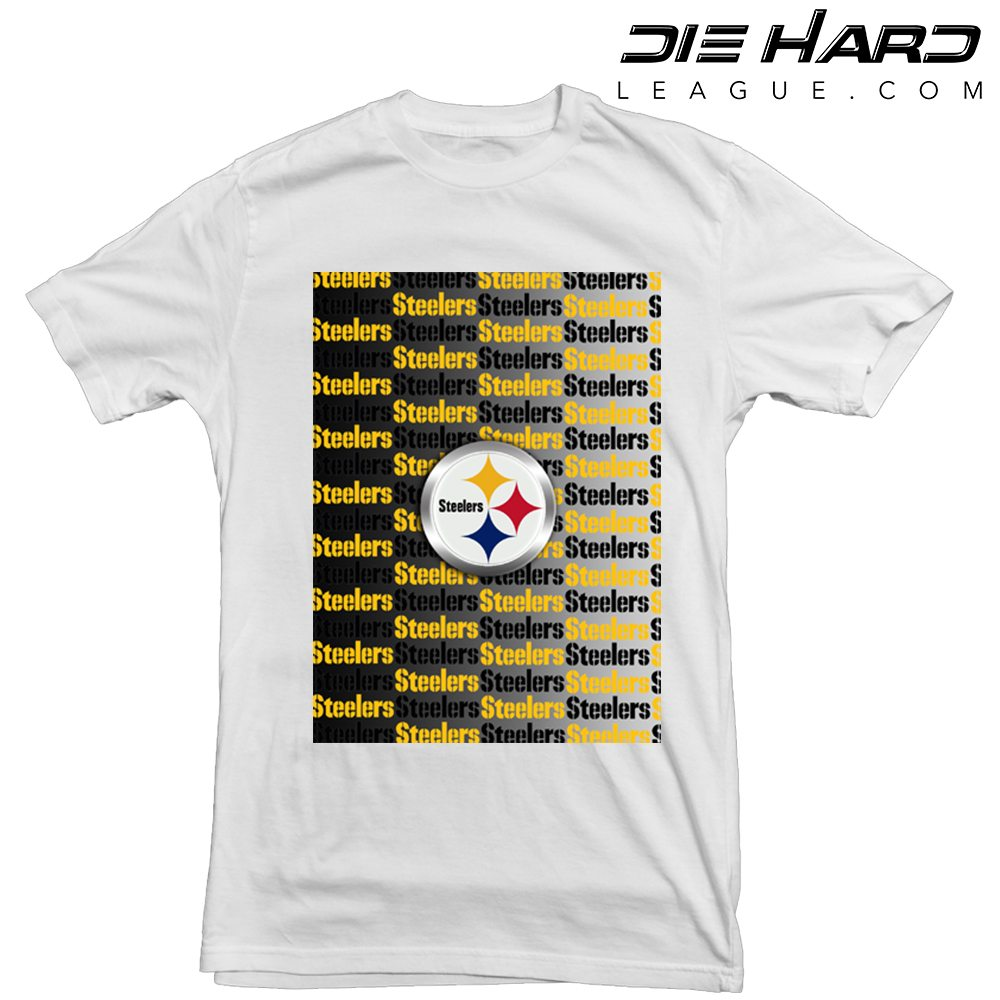 Pittsburgh steelers t shirt cascade logos white tee for Pittsburgh t shirt printing