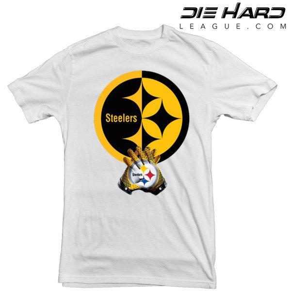 Pittsburgh Steelers T Shirt Logo Gloves White Tee