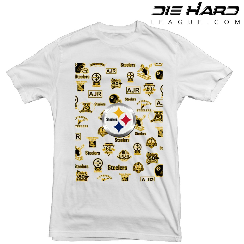 Pittsburgh Steelers T Shirt Logos White Tee