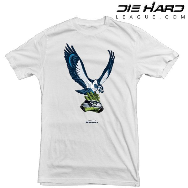 Seattle Seahawks T Shirt Throwback Mascot White Tee