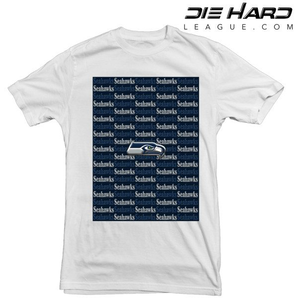 Seattle Seahawks T Shirt Cascade Logos White Tee
