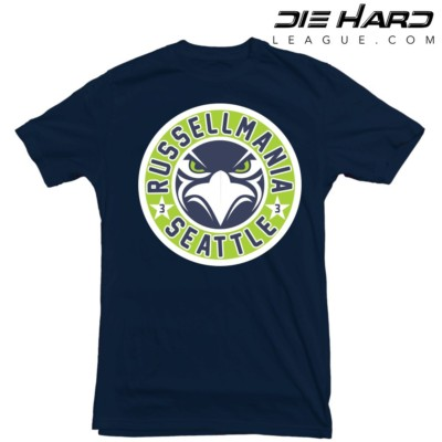 Seattle Seahawks 12 - Seattle Seahawks Russell Wilson Navy Tee