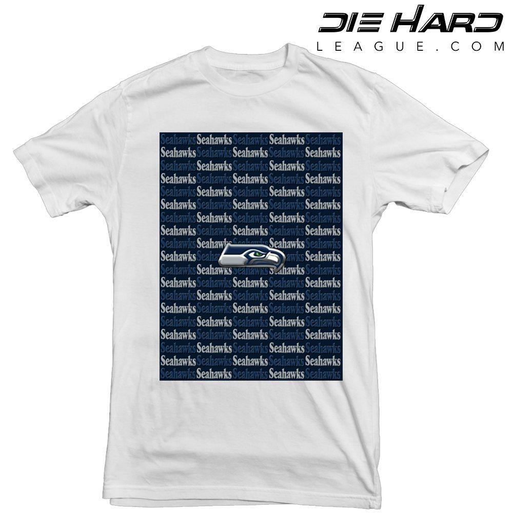 Seattle seahawks t shirt cascade logos white tee for Seattle t shirt printing