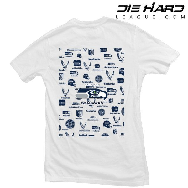 Seattle Seahawks T Shirt Pocket Logo White Tee