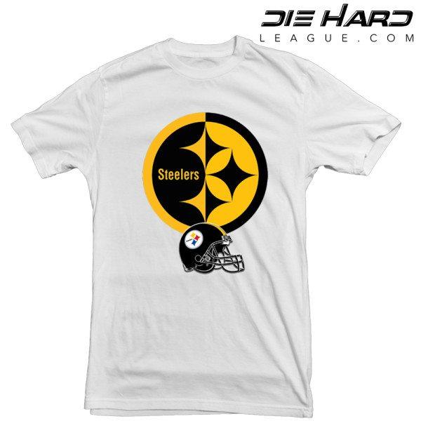 Pittsburgh Steelers T Shirt Logo Helmet White Tee