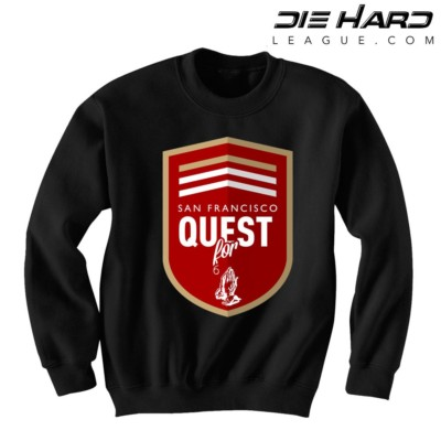 San Francisco 49ers Sweatshirts - Quest for 6 GOD Black Crewneck