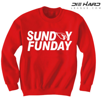 Arizona Cardinals Sweater Sunday Funday Red NFL Crewneck