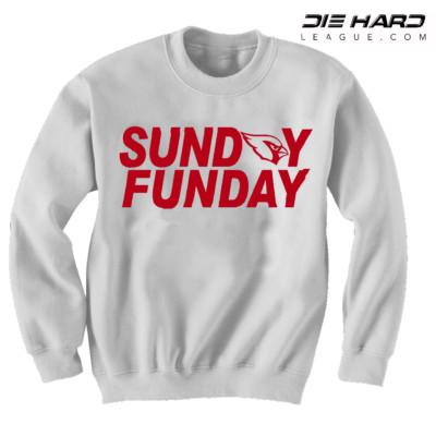 Arizona Cardinals Sweater Sunday Funday White NFL Crewneck