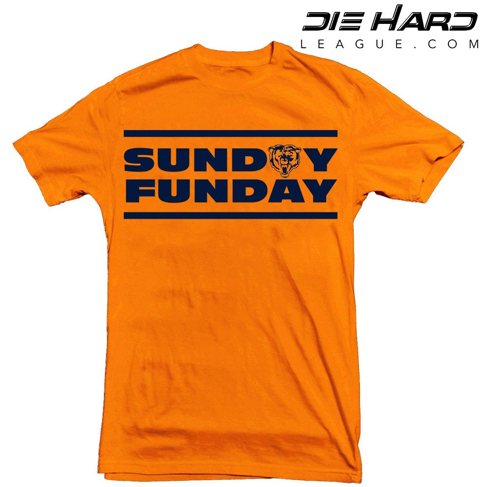 Chicago Bears Custom T Shirts Sunday Funday Orange Tee