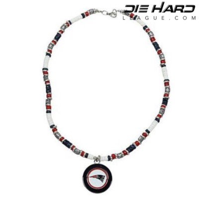 New England Patriots Puka Shell Beaded Necklace