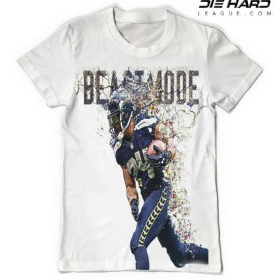 Seattle Seahawks T Shirt BeastMode White Tee