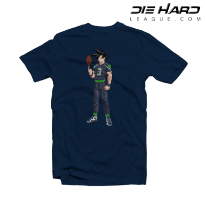 Seahawks T Shirts - Russell Wilson Goku Navy Tee