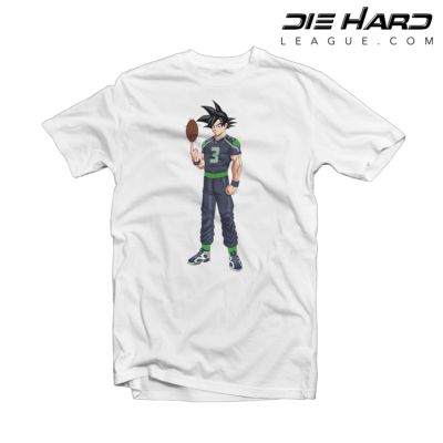 Seattle Seahawks T Shirts - Russell Wilson Goku White Tee