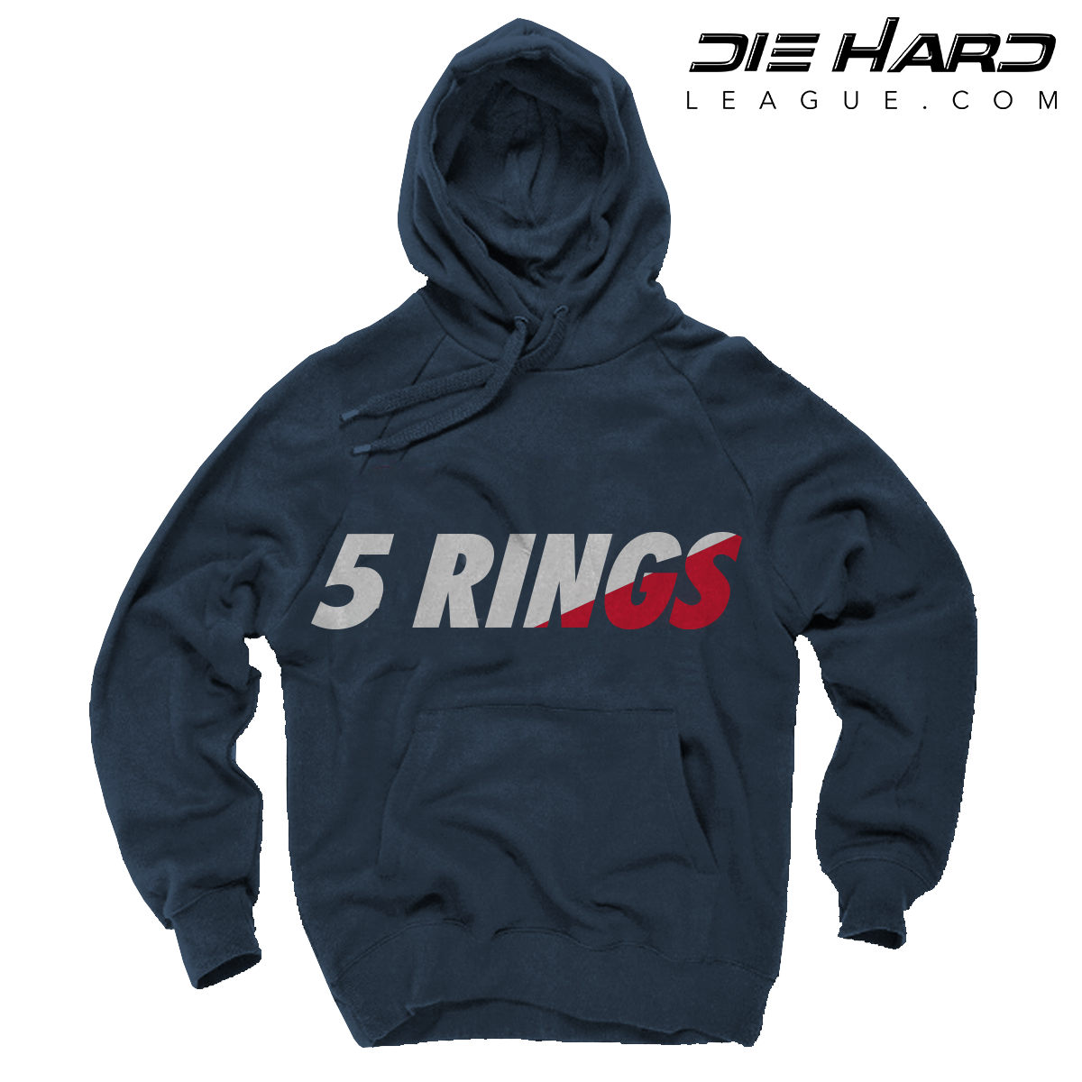 outlet store 676ff 13cc7 New England Patriots Hoodie - 5 Rings Navy Sweater