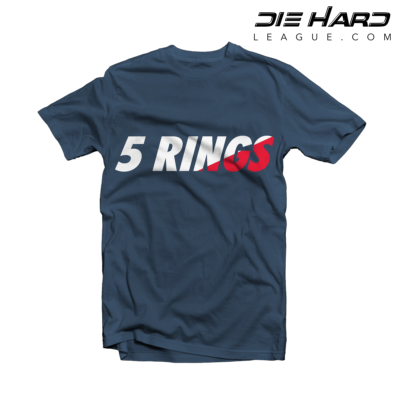 Patriots Superbowl - New England Patriots 5 Rings Navy Tee