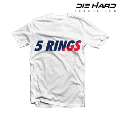 Patriots Shirt - New England Patriots 5 Rings White Tee