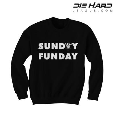 Oakland Raiders Sweatshirts - Sunday Funday Black Crewneck
