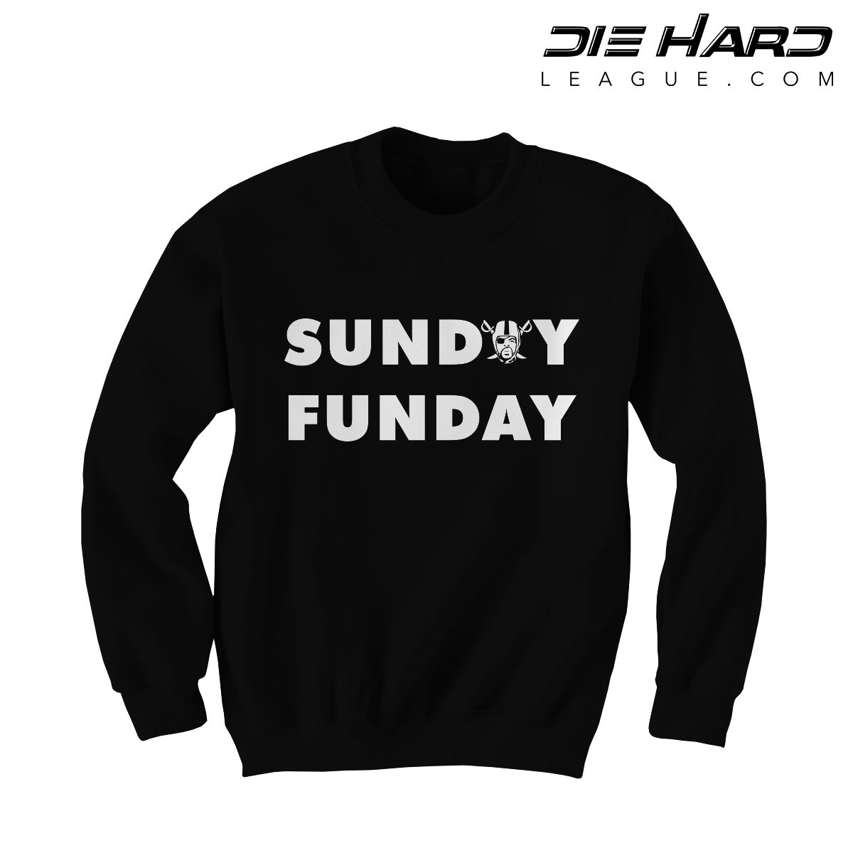 7ddd1445a70 Shop. Home Oakland Raiders Clothing Raiders Sweatshirts Oakland Raiders  Sweatshirts – Sunday Funday Black Crewneck