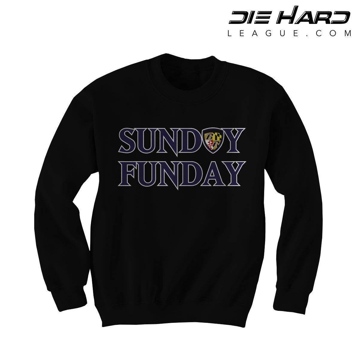770df1ebe9834 Shop. Home/Baltimore Ravens/Ravens Shirts/Baltimore Ravens Sweatshirt – Sunday  Funday Black Crewneck