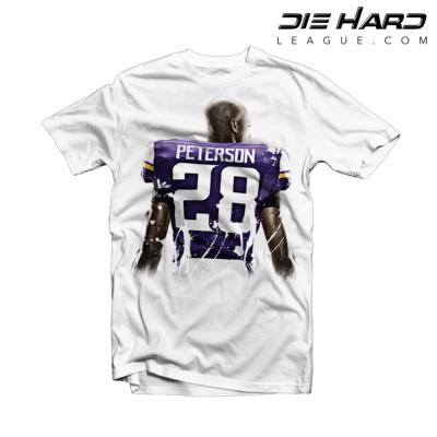 Minnesota Vikings T Shirt Adrian Peterson Splatter White Tee