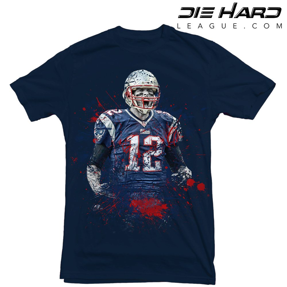 Tom brady t shirt new england patriots splatter navy tee New england patriots shirts