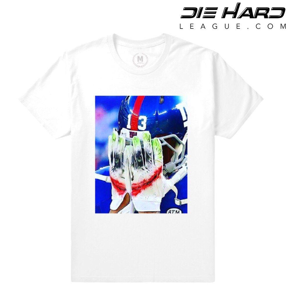 best service 8656f 13cfd Odell Beckham - NY Giants Shirt OBJ Joker Face Glove White Tee