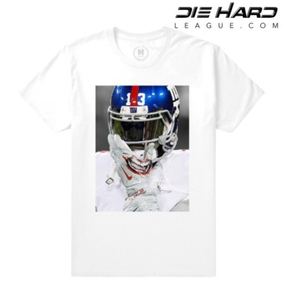 Odell Beckham Jr - NY Giants Shirt OBJ Smile Glove White Tee