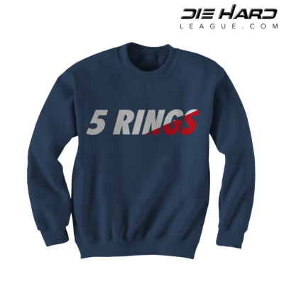 New England Patriots Crewneck- 5 Rings Navy Sweater