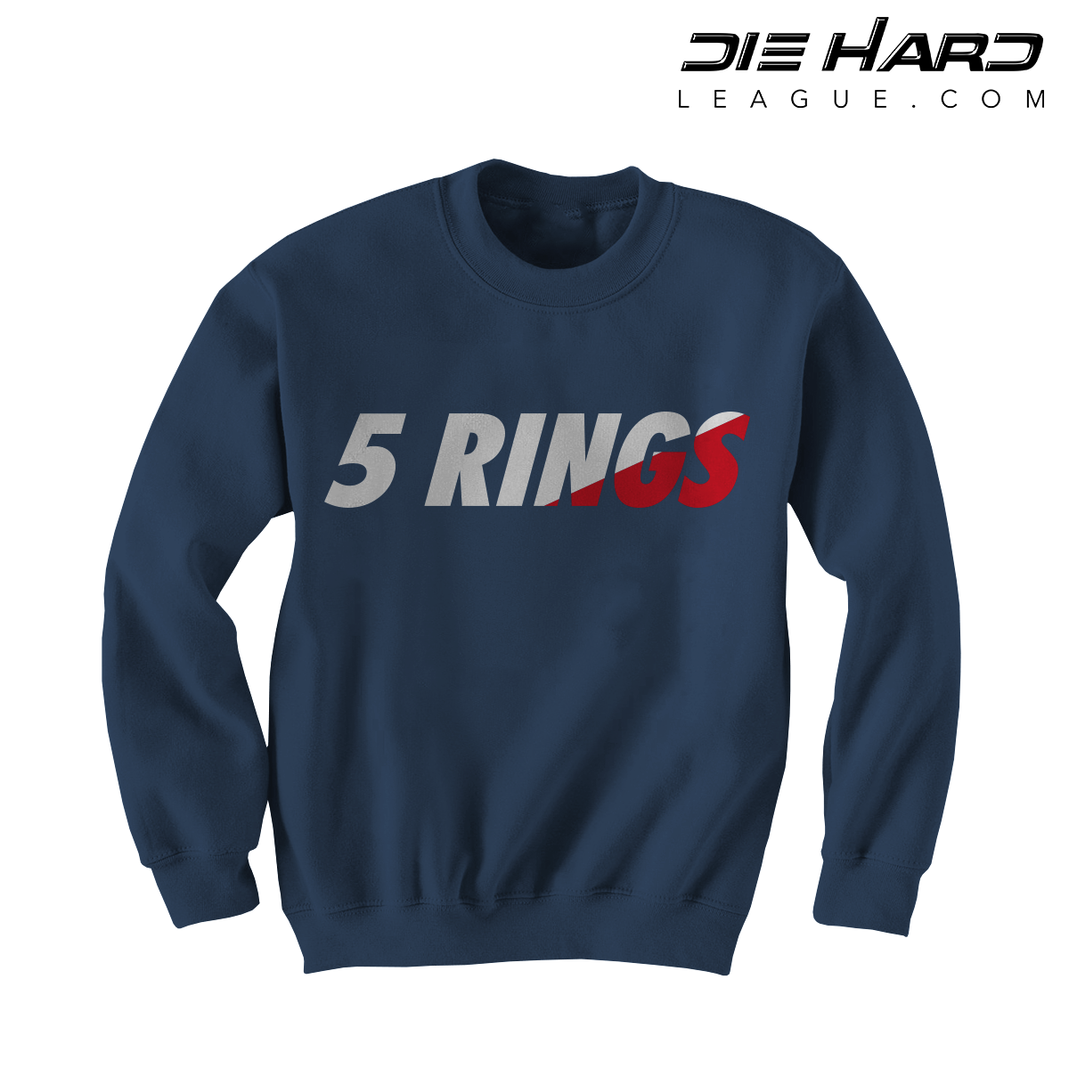 official photos c28f6 6dcb2 New England Patriots Crewneck - 5 Rings Navy Sweater