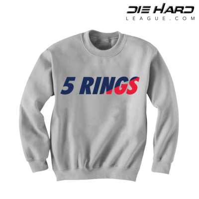 Patriots Crewneck - New England Patriots 5 Rings White Sweater