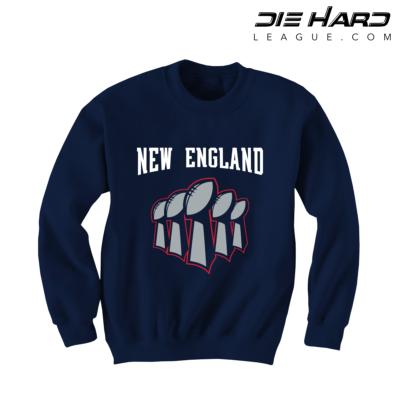 New England Patriots Super Bowl Wins - Patriots Superbowl Navy Sweatshirt